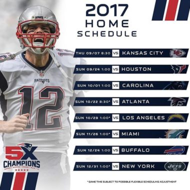 2017 New England Patriots Home Schedule